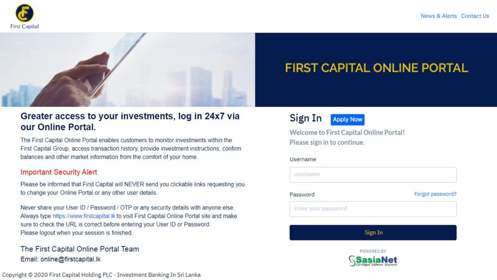 First Capital Online Portal